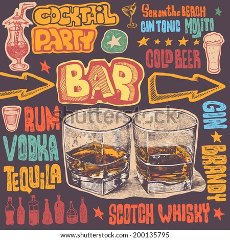 crazy bar doodles, hand drawn design elements. vector illustration  - stock vector