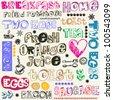 crazy breakfast doodles - stock vector