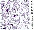 Crazy doodle set. School notebook. Vector illustration. - stock vector