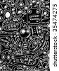 Crazy doodles animal freaks pattern - stock vector
