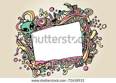 crazy  funny doodles with space for text - stock vector