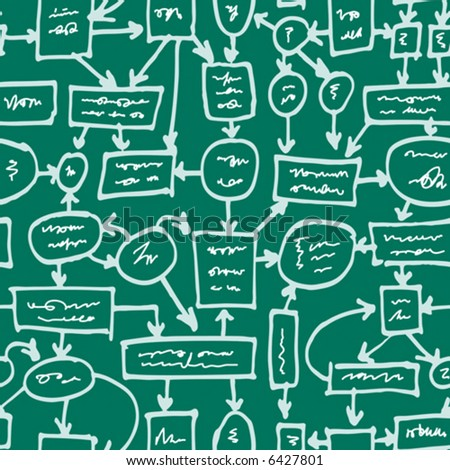 Crazy management flowchart. Seamless vector wallpaper. - stock vector