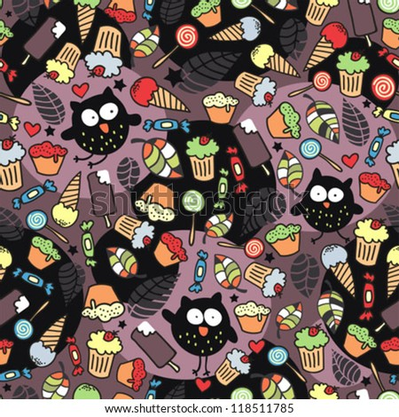 Crazy owls and some tasty things. Seamless pattern in vector. - stock vector