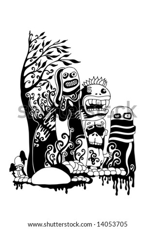 crazy persons, ink style vector background. for CD cover or t-shirt design - stock vector