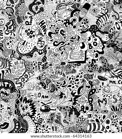 crazy psychedelic doodles - stock vector