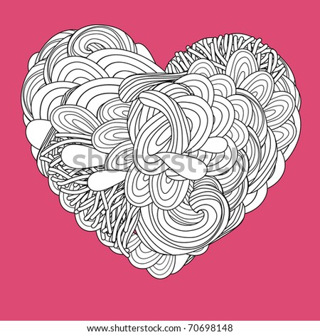 crazy psychedelic heart with doodle - stock vector