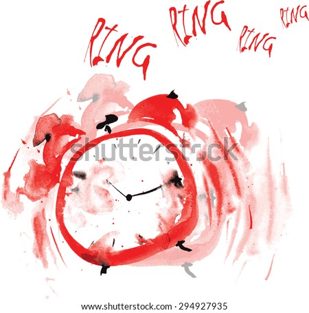 crazy red alarm clock, painted in watercolor, and tries to wake up the ringing bell of a white background - stock vector