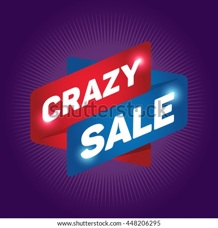 CRAZY SALE arrow tag sign icon. Discount symbol. Special offer label. Purple background.