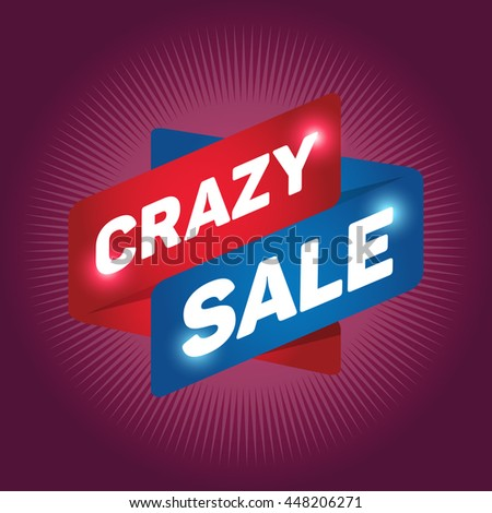 CRAZY SALE arrow tag sign icon. Discount symbol. Special offer label. Ruby background.
