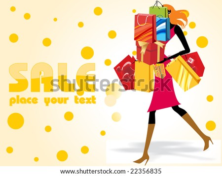 crazy sale background with a modern girl loaded with shopping bags - stock vector