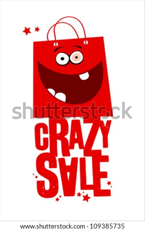 Crazy sale  with fun red bag. - stock vector