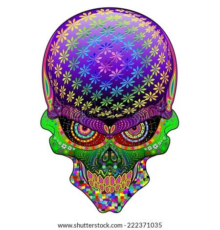 Crazy Skull Psychedelic  - stock vector