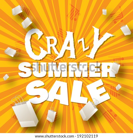 Crazy summer sale design template   - stock vector