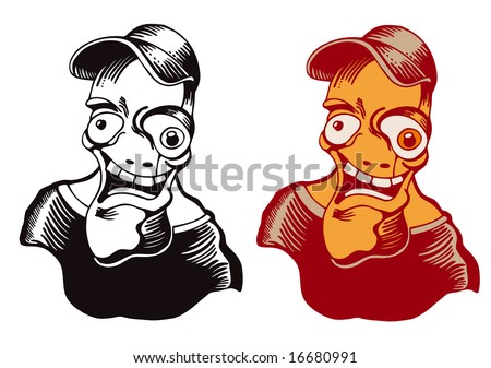 crazy teenager, ink style vector illustration. - stock vector