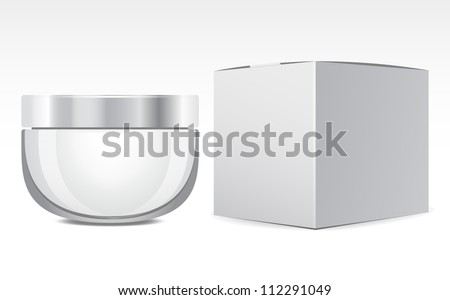 Cream, Gel Or Powder, Gray, Jar Can Cap Bottle with box, package - stock vector