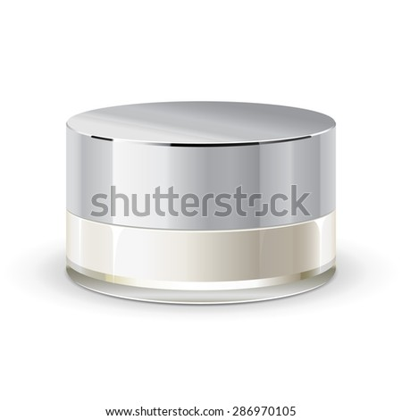 Cream, Gel Or Powder, Light Gray, White, Brown, Glass Jar Can Cap Bottle. Blank On White Background Isolated. Ready For Your Design. Product Packing Vector EPS10 - stock vector