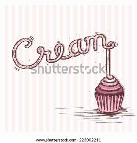 cream lettering with cupcake - stock vector