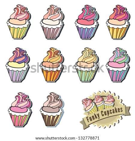 Cream Swirl Cupcake Collection hand drawn - stock vector