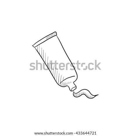 Cream tube and stroke vector sketch icon isolated on background. Hand drawn Cream tube and stroke icon. Cream tube and stroke sketch icon for infographic, website or app. - stock vector