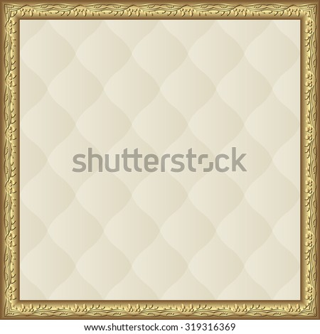 creamy pattern with golden frame - stock vector