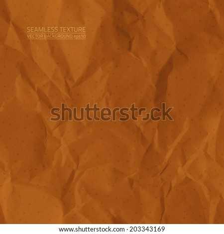 Creased brown paper vector seamless texture. Vector seamless pattern. Vector seamless background. Abstract vector background. Seamless vintage background. Seamless retro background. Old paper texture - stock vector