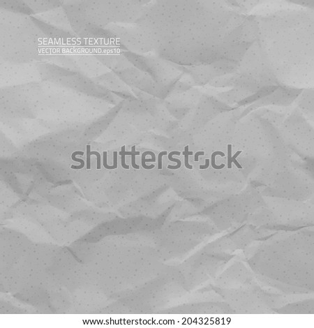 Creased grey paper vector seamless texture. Vector seamless pattern. Vector seamless background.  - stock vector