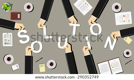 Create a solution illustration concept. Business people brings letters. Flat design illustration concepts for teamwork, discussion, business, career, strategy, decision making, analysis, meeting.  - stock vector