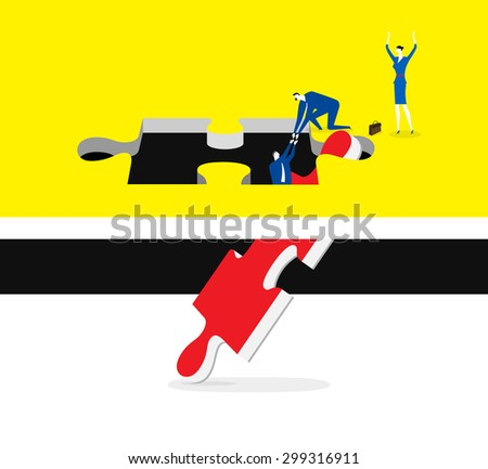 Create a way out together - stock vector
