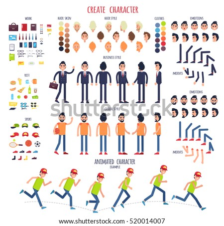 Create Character Set Different Illustrations Body Stock