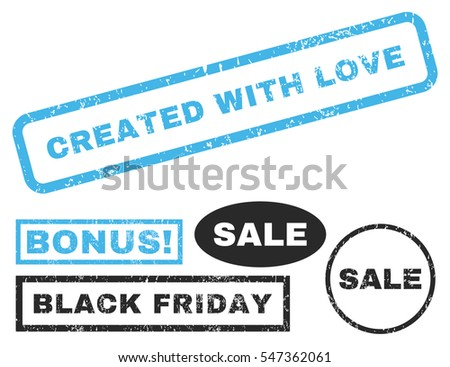 Created With Love rubber seal stamp watermark with additional banners for Black Friday offers. Vector blue and gray stickers. Caption inside rectangular shape with grunge design and scratched texture.