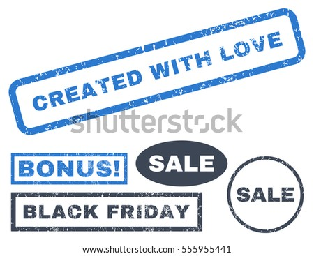 Created With Love rubber seal stamp watermark with bonus design elements for Black Friday offers. Vector smooth blue signs. Caption inside rectangular shape with grunge design and scratched texture.