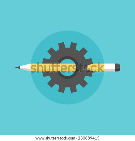 Creating and building process, sketching pen tool with cogwheel mechanism, technical sketch organization. Flat icon modern design style vector illustration concept. - stock vector