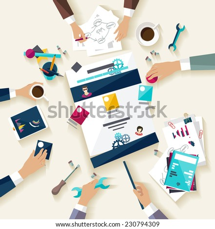 Creating website. Flat design. - stock vector