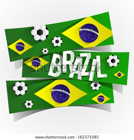 Creative Abstract Brazilian Flag With Soccer Balls vector illustration - stock vector