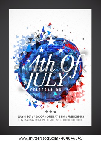Creative abstract design decorated, Pamphlet, Banner or Flyer for 4th of July, American Independence Day celebration. - stock vector