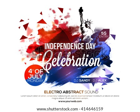 Creative abstract design decorated, Poster, Banner or Flyer design for American Independence Day celebration. - stock vector