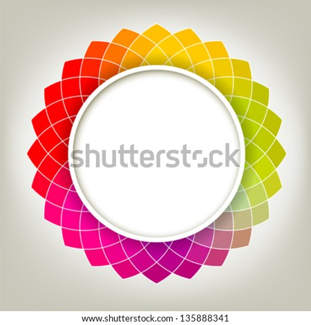 Creative Abstract Digital Flower with Round Frame for Your Text - stock vector