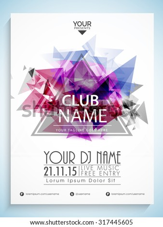 Creative abstract flyer, template or banner design for Party celebration. - stock vector
