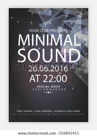 Creative abstract flyer, template or banner design with date, time and other details for Musical Party celebration. - stock vector