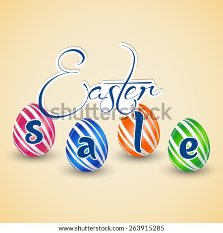 Creative Abstract for Sale with multicolour eggs in a same stripe pattern for Easter in a beautiful background.  - stock vector