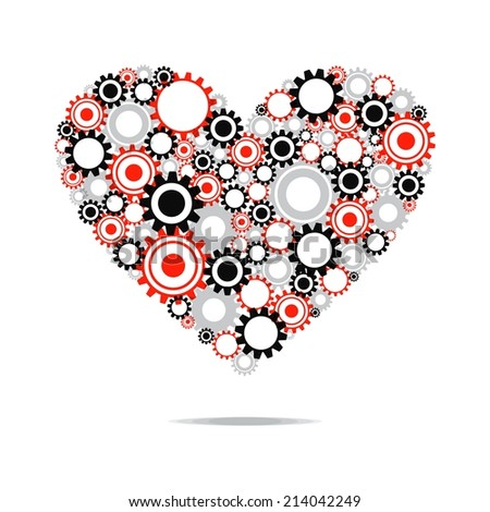 Creative Abstract Heart With Transparent Cog Wheels vector illustration - stock vector