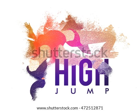 Creative abstract illustration of a Female Athlete in action of High Jump for Sports concept, Can be used as Poster, Banner or Flyer design.