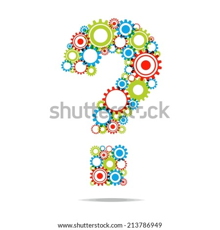 Creative Abstract Question Mark With Transparent Cog Wheels vector illustration - stock vector