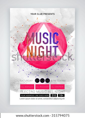 Creative abstract template, banner or flyer design for Musical Night celebration with date and time details. - stock vector