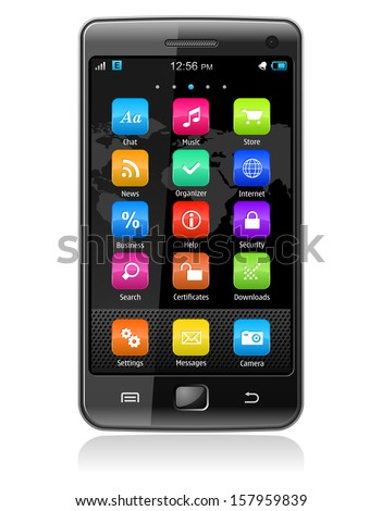 Creative abstract wireless communication technology and mobility business telecommunication concept: detailed vector illustration of modern black glossy touchscreen smartphone with colorful interface - stock vector