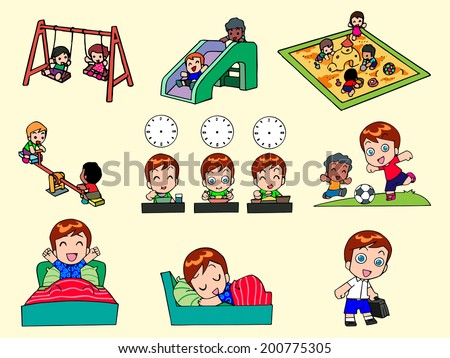 Creative activity of cute kids, has IQ fun and learning. - stock vector