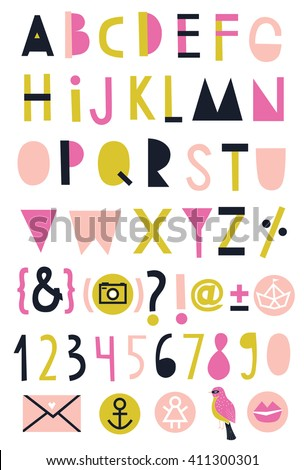 Creative Alphabet, numbers and symbols - stock vector