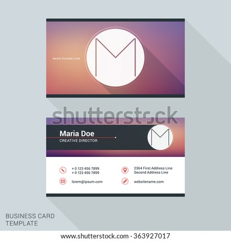 Creative clean business card name badge stock vector 363927017 creative and clean business card or name badge template logotype letter m flat design accmission Images