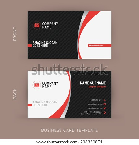 Creative and Clean Business Card Template. Black and Red Colors - stock vector