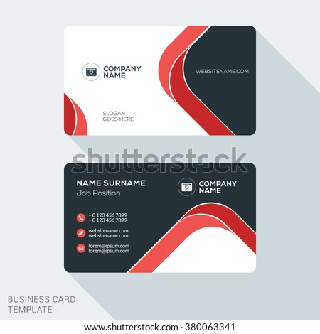 Creative and Clean Business Card Template. Flat Design Vector Illustration. Stationery Design - stock vector